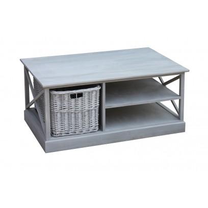 Table de salon Kubo avec panier, gris
