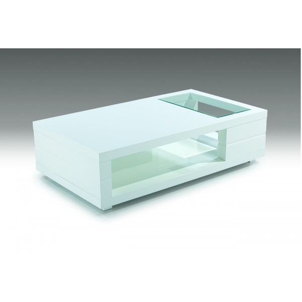Table de salon allen blanc laqu d co meubles - Table de salon blanc ...