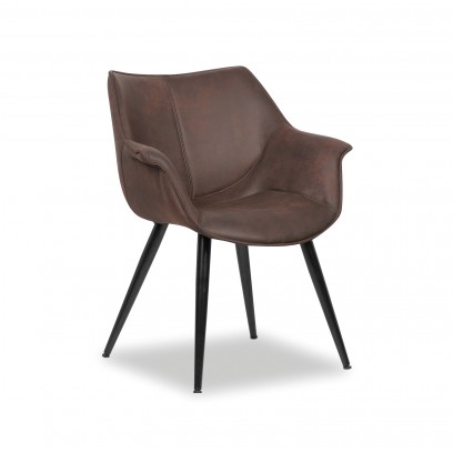 Chaise Milan, microfibres, brun