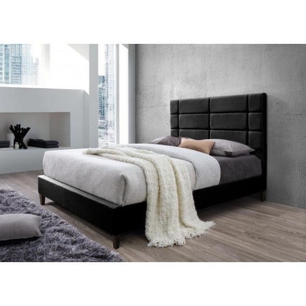 lit brescia avec sommier pu noir 140x200 cm d co meubles. Black Bedroom Furniture Sets. Home Design Ideas