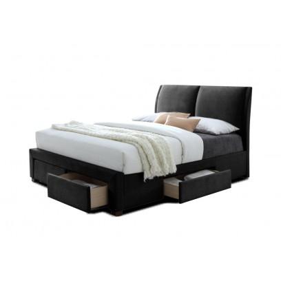 lit babano avec sommier pu noir 140x200 cm d co meubles. Black Bedroom Furniture Sets. Home Design Ideas