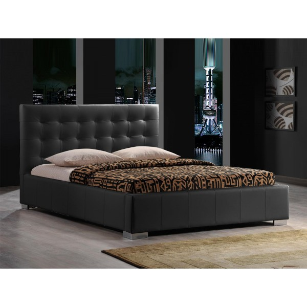 lit eros avec sommier pu noir 140x200 cm d co meubles. Black Bedroom Furniture Sets. Home Design Ideas