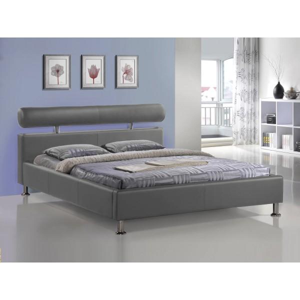 Lit apollo avec sommier pu gris 140x200 cm d co meubles - Sommier pliable 160x200 ...