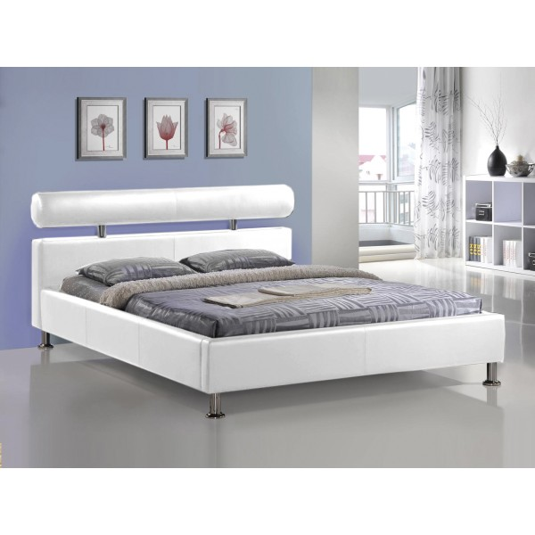 Lit apollo avec sommier pu blanc 160x200 cm d co meubles - Sommier 160x200 pliable ...