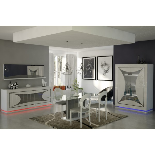 salle manger ravenne en blanc laqu d co meubles. Black Bedroom Furniture Sets. Home Design Ideas