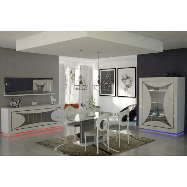 Salle manger ravenne en blanc laqu d co meubles for Meuble salle a manger laque blanc