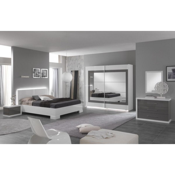 chambre coucher ancona en blanc et gris laqu d co. Black Bedroom Furniture Sets. Home Design Ideas