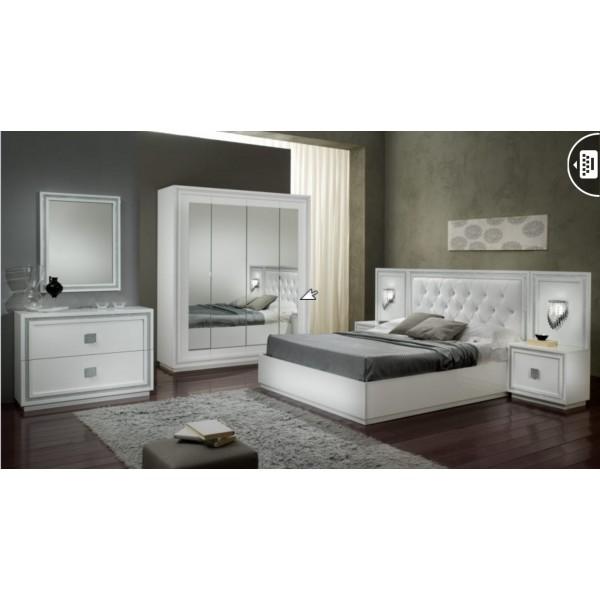 Chambre coucher kristel en noir blanc ou noir for Chambre a coucher noir et blanc laque