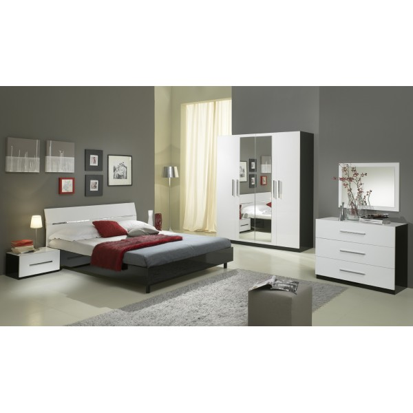 chambre coucher gloria complet en noir et blanc laqu. Black Bedroom Furniture Sets. Home Design Ideas